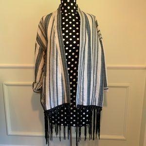 ZARA linen Kimono style Jacket with black Fringe